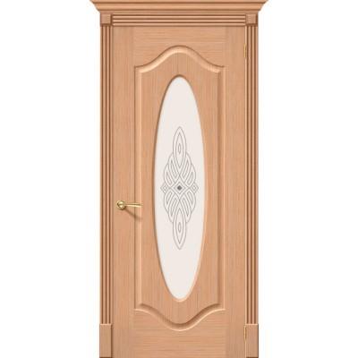 Межкомнатная шпонированная дверь Аура Ф-01 (Дуб)   Худ.